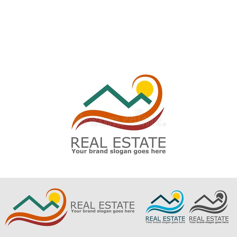 Logo d'été d'immobiliers illustration stock