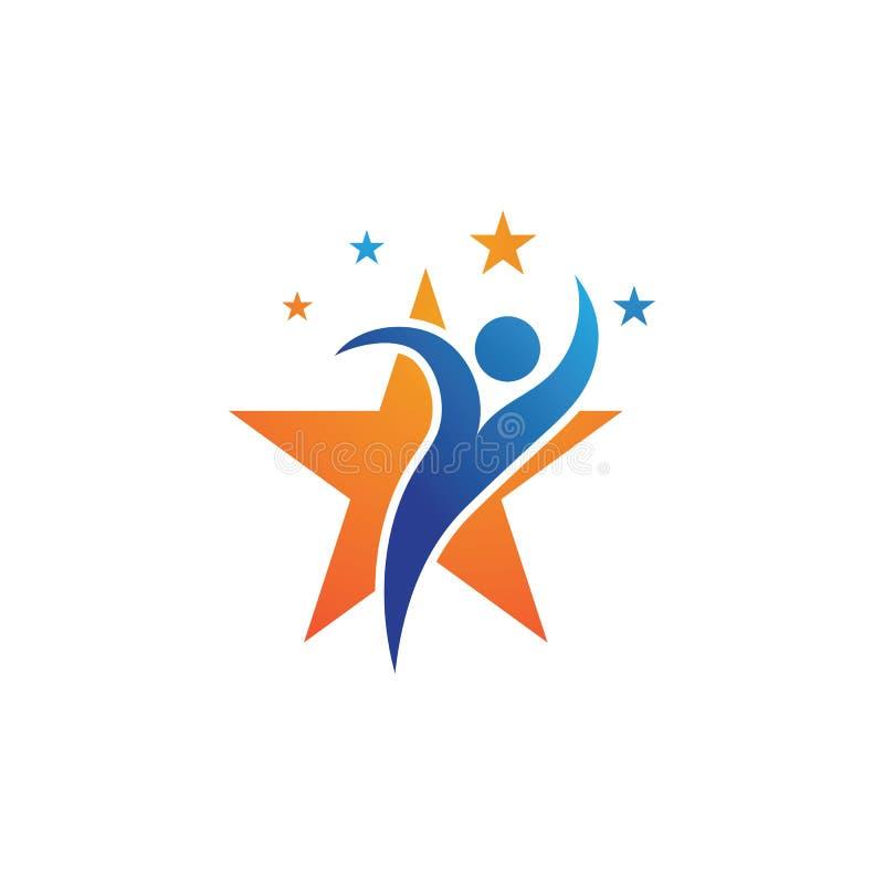 logo d'étoile de personnes et calibre de symbole illustration stock