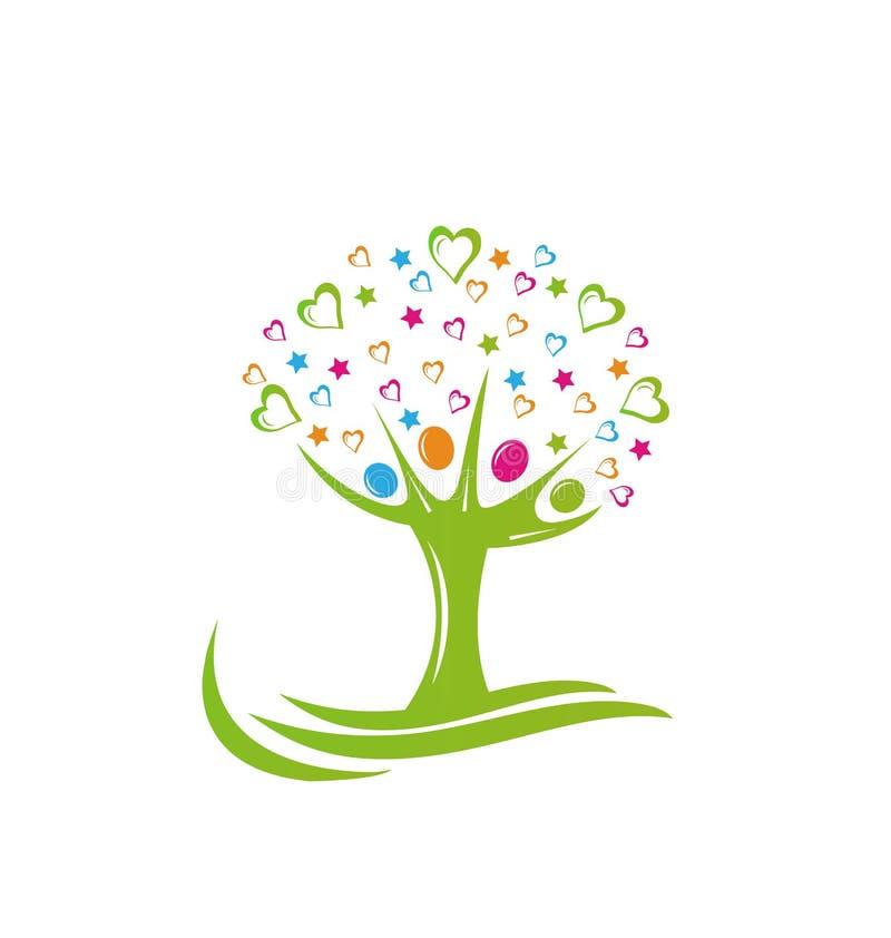 Logo d'étoiles et de coeurs de personnes d'arbre illustration de vecteur