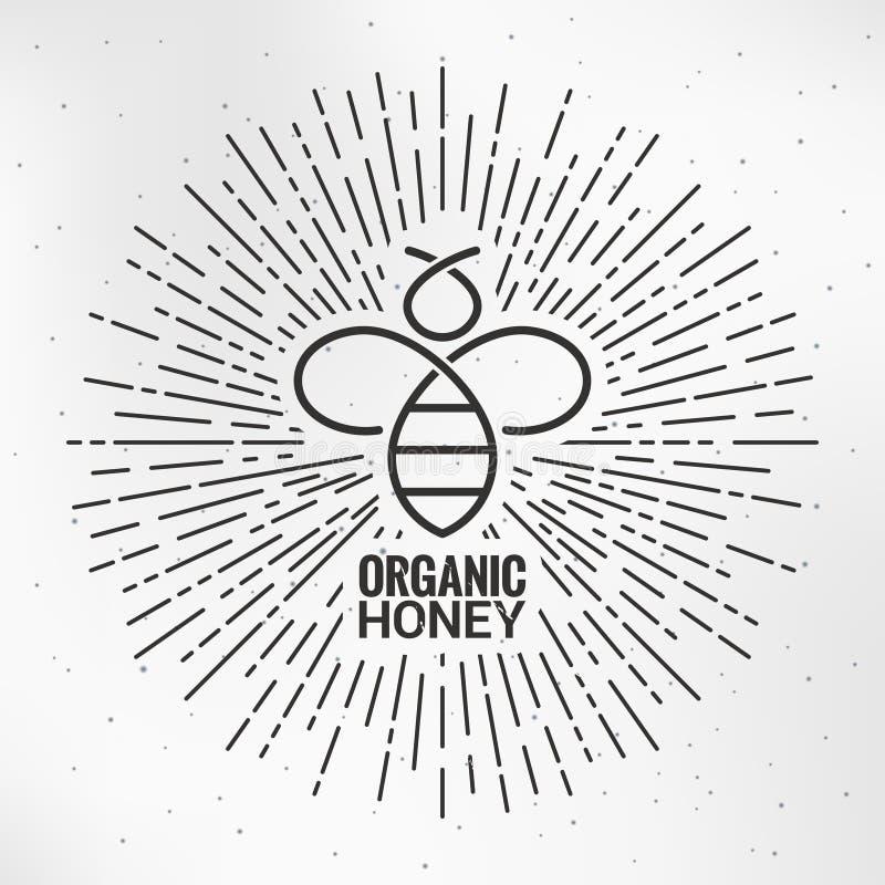 Logo d'abeille avec le fond de papier de rayon de soleil illustration libre de droits