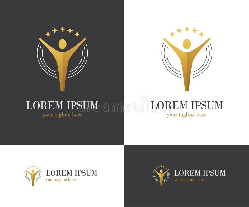 Logo d'or abstrait avec le chiffre et les étoiles humains illustration de vecteur