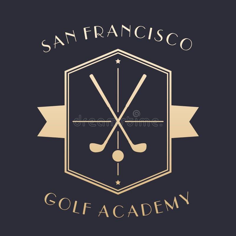 Logo d'académie de golf, emblème avec des clubs illustration de vecteur
