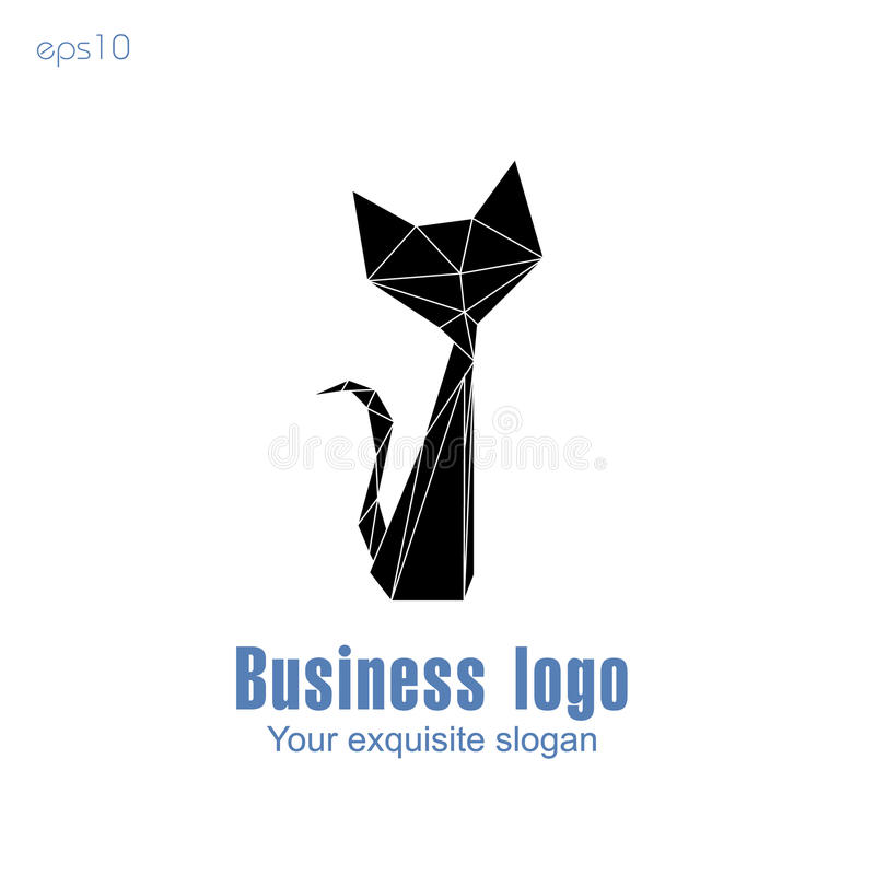 Logo d'affaires de chat noir illustration de vecteur