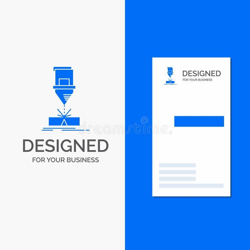 Logo d'affaires pour couper, ing?nierie, fabrication, laser, acier Calibre bleu vertical de carte d'affaires/de visite illustration de vecteur