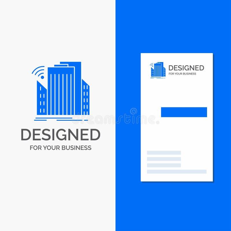 Logo d'affaires pour des bâtiments, ville, capteur, futé, urbain Calibre bleu vertical de carte d'affaires/de visite photo stock