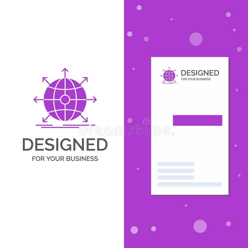 Logo d'affaires pour des affaires, global, internationales, réseau, Web Calibre pourpre vertical de carte d'affaires/de visite cr illustration de vecteur