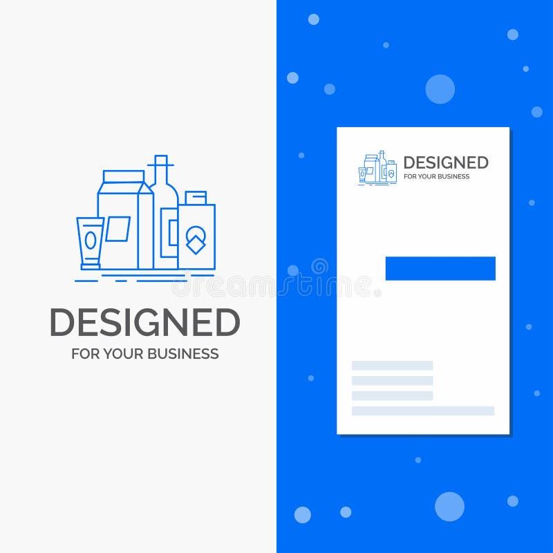 Logo d'affaires pour empaqueter, stigmatisant, vente, produit, bouteille Calibre bleu vertical de carte d'affaires/de visite illustration de vecteur