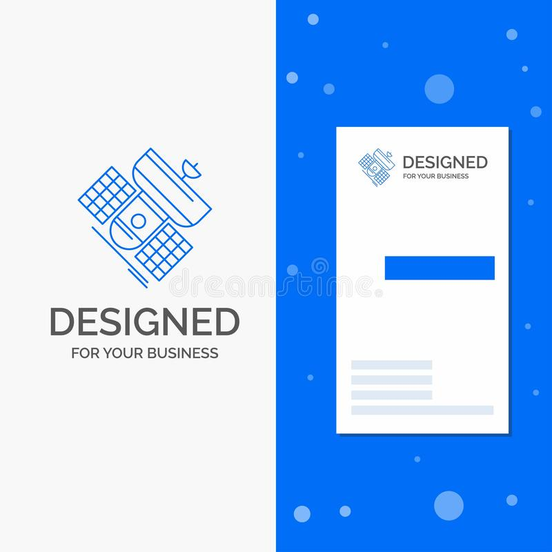 Logo d'affaires pour l'émission, radiodiffusion, communication, satellite, télécommunication Carte bleue verticale d'affaires/de  illustration stock