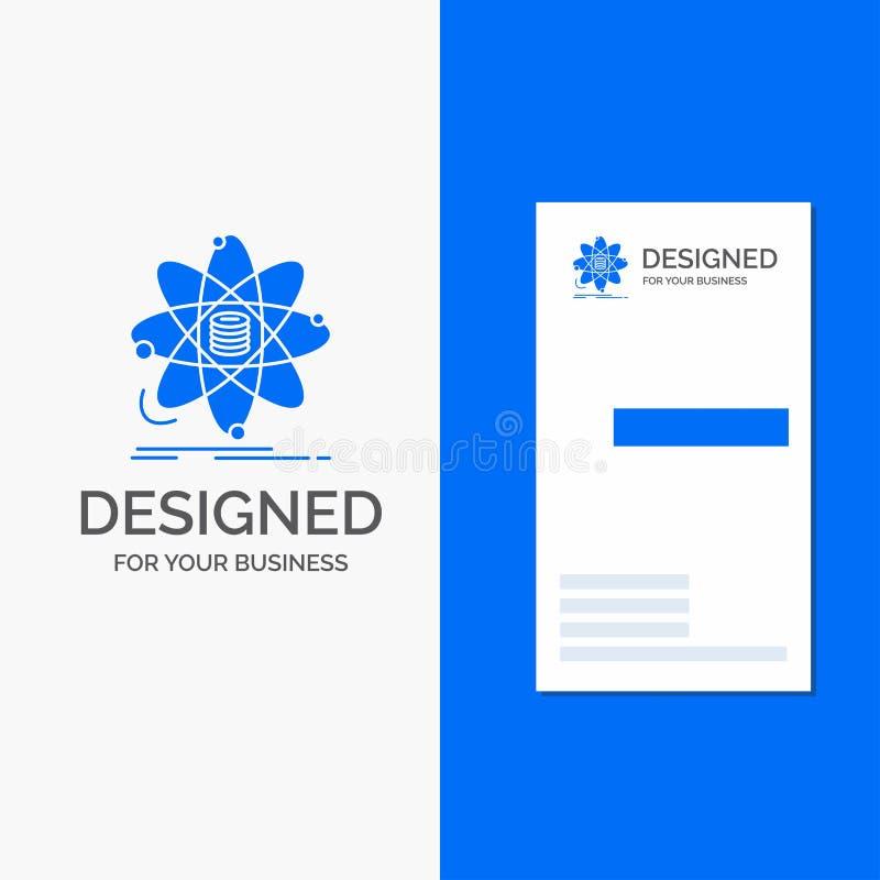 Logo d'affaires pour l'analyse, données, l'information, recherche, la science Calibre bleu vertical de carte d'affaires/de visite illustration libre de droits