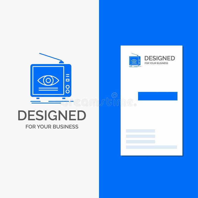 Logo d'affaires pour l'annonce, émission, vente, télévision, TV Calibre bleu vertical de carte d'affaires/de visite illustration de vecteur
