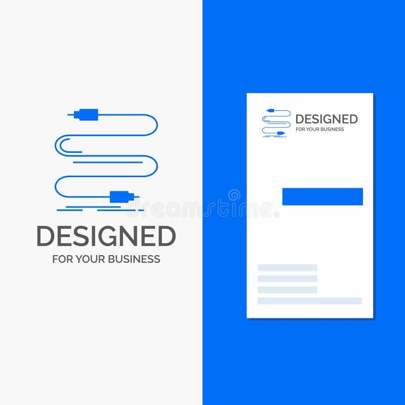 Logo d'affaires pour l'audio, c?ble, corde, bruit, fil Calibre bleu vertical de carte d'affaires/de visite illustration de vecteur
