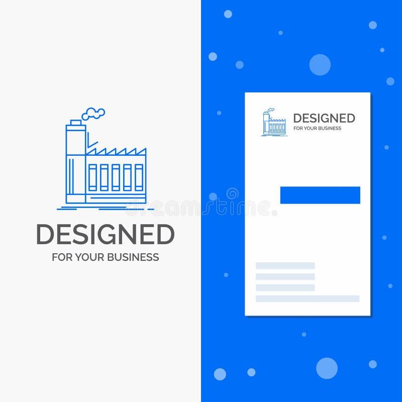 Logo d'affaires pour l'usine, industriel, industrie, fabrication, production Calibre bleu vertical de carte d'affaires/de visite illustration stock