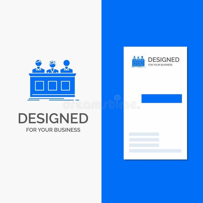 Logo d'affaires pour la concurrence, concours, expert, juge, jury Calibre bleu vertical de carte d'affaires/de visite illustration libre de droits