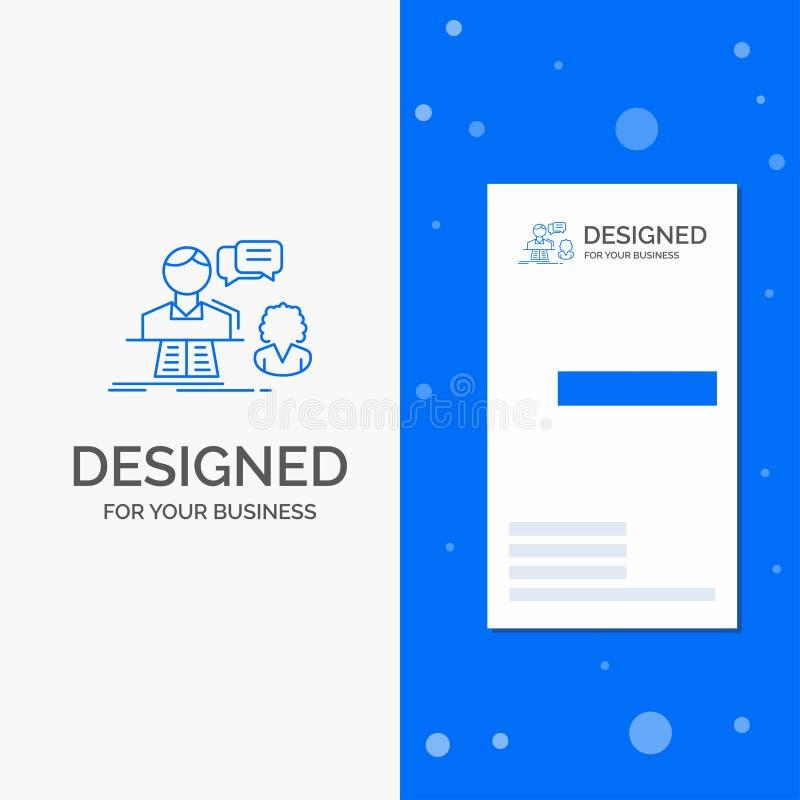 Logo d'affaires pour la consultation, causerie, r?ponse, contact, appui Calibre bleu vertical de carte d'affaires/de visite illustration stock