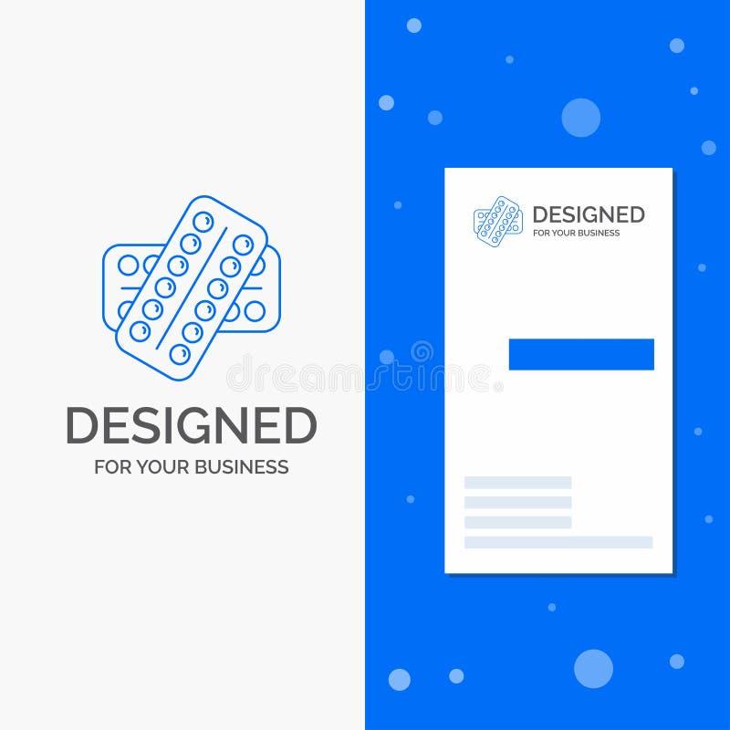 Logo d'affaires pour la médecine, pilule, drogues, comprimé, patient Calibre bleu vertical de carte d'affaires/de visite illustration stock