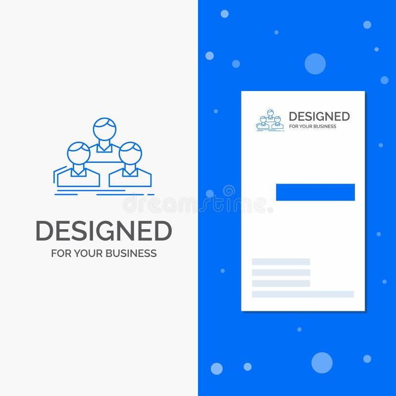 Logo d'affaires pour la société, employé, groupe, les gens, équipe Calibre bleu vertical de carte d'affaires/de visite illustration stock