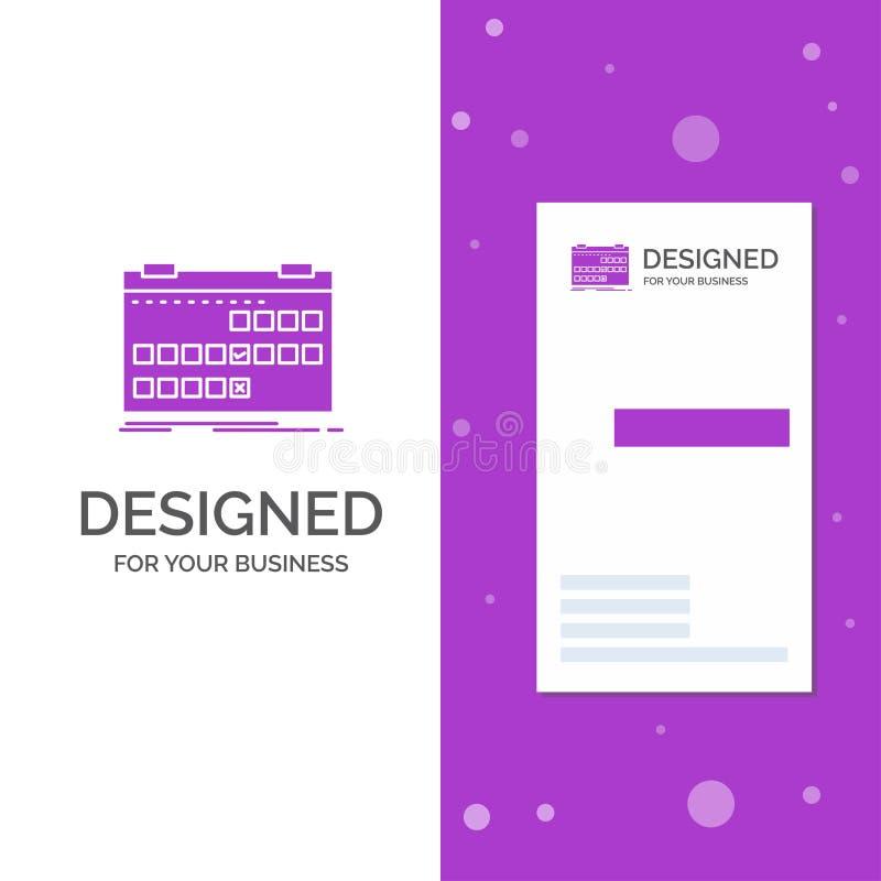 Logo d'affaires pour le calendrier, date, événement, libération, programme Calibre pourpre vertical de carte d'affaires/de visite illustration stock