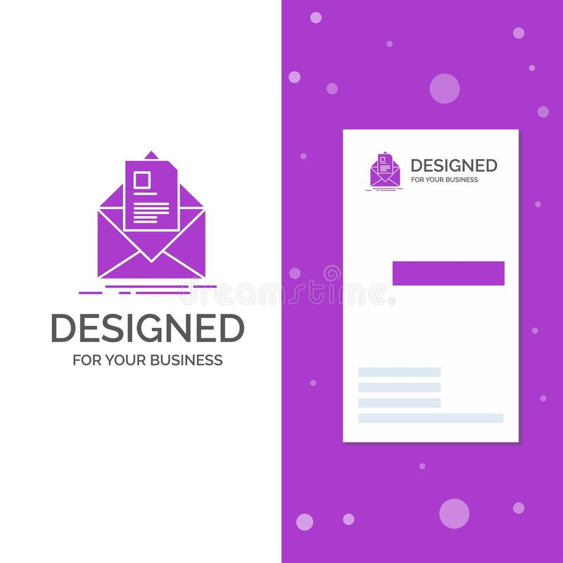 Logo d'affaires pour le courrier, contrat, lettre, email, briefing Calibre pourpre vertical de carte d'affaires/de visite Fond cr illustration stock