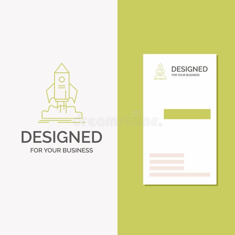 Logo d'affaires pour le lancement, démarrage, bateau, navette, mission Calibre vert vertical de carte d'affaires/de visite Fond c illustration libre de droits