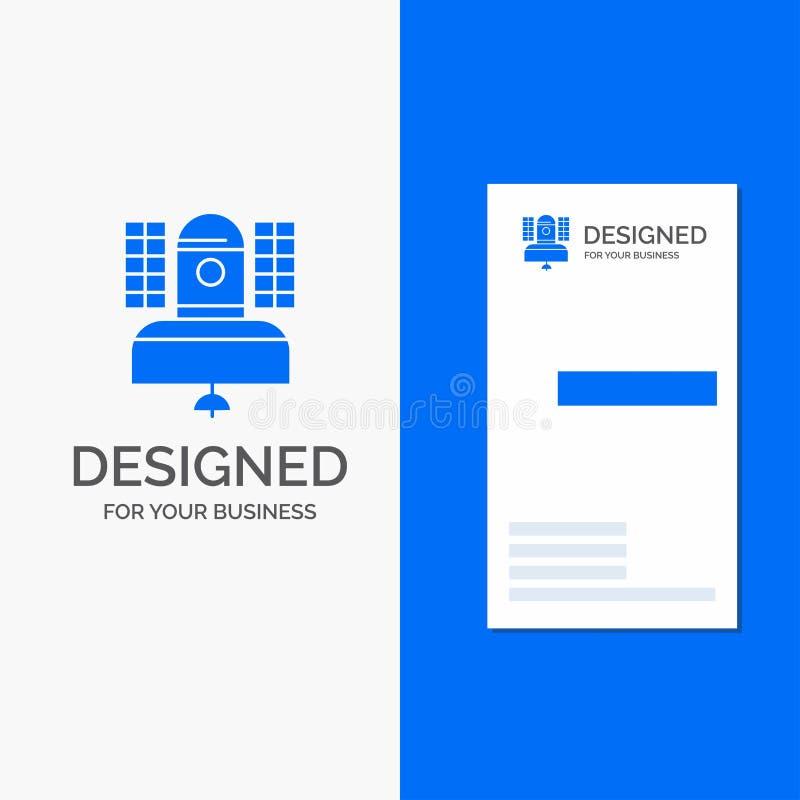 Logo d'affaires pour le satellite, émission, radiodiffusion, communication, télécommunication Carte bleue verticale d'affaires/de illustration libre de droits