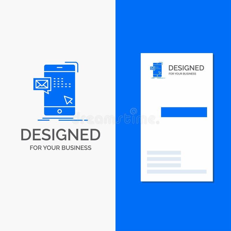 Logo d'affaires pour le volume, dialogue, instant, courrier, message Calibre bleu vertical de carte d'affaires/de visite illustration libre de droits