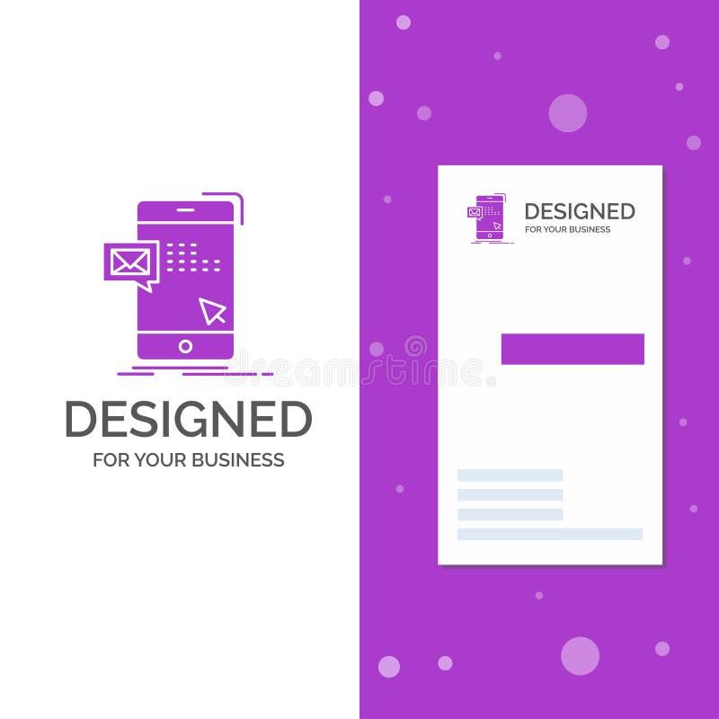 Logo d'affaires pour le volume, dialogue, instant, courrier, message Calibre pourpre vertical de carte d'affaires/de visite Fond  illustration de vecteur