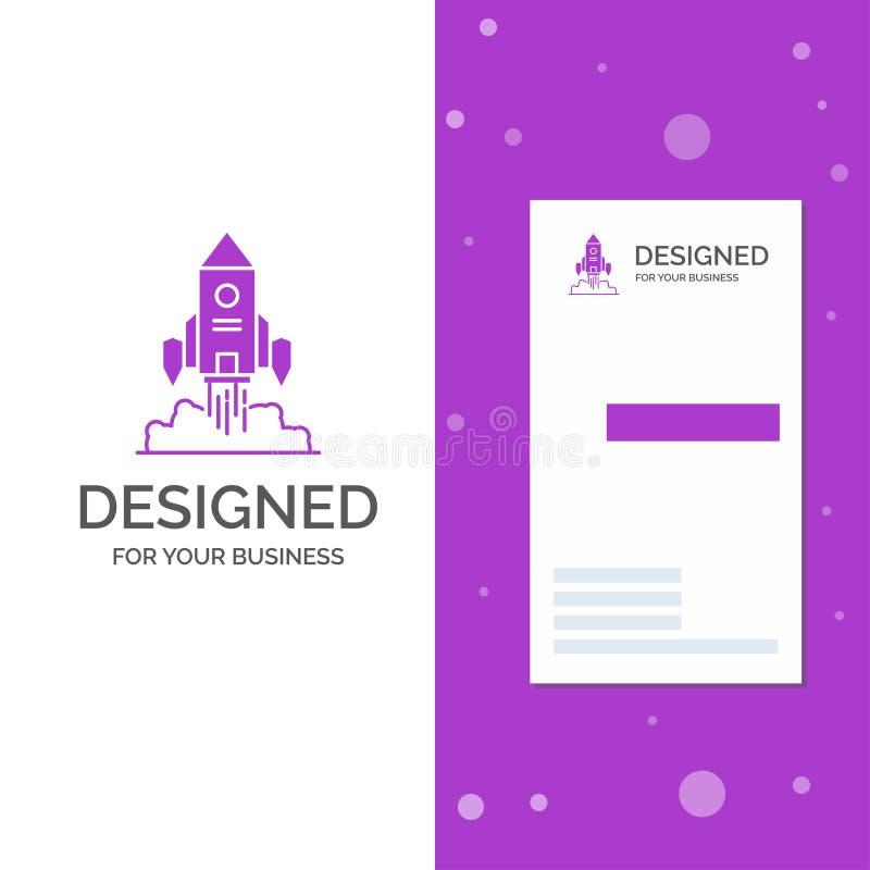 Logo d'affaires pour Rocket, vaisseau spatial, démarrage, lancement, jeu Calibre pourpre vertical de carte d'affaires/de visite F illustration stock