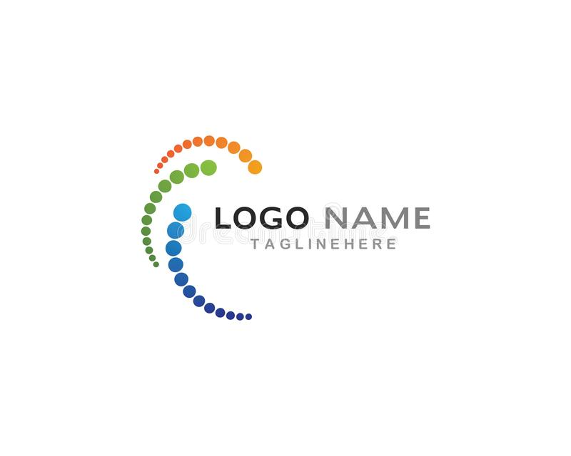 Logo d'affaires, vortex, cercle et icône en spirale illustration stock