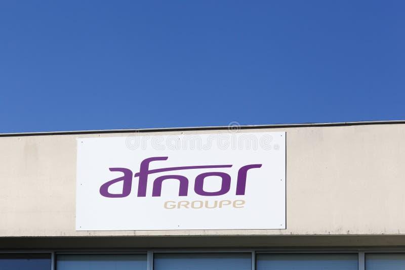 Logo d'AFNOR sur un mur photographie stock libre de droits