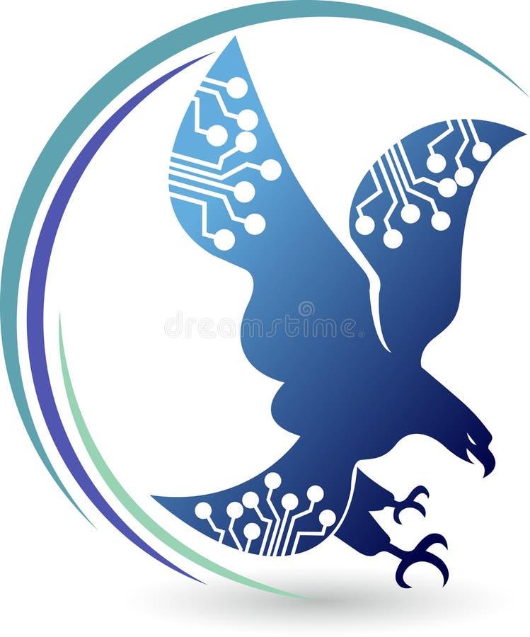 Logo d'aigle de circuit illustration de vecteur