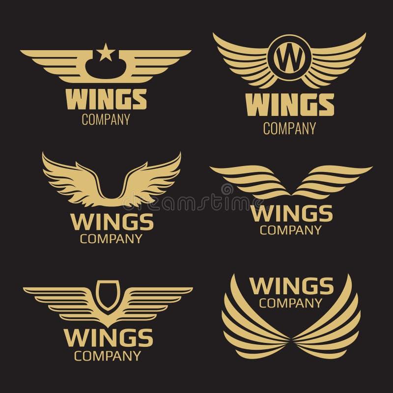Logo d'or d'ailes de vecteur illustration de vecteur