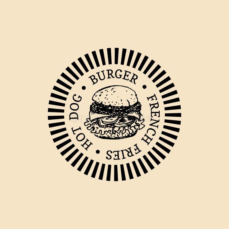 Logo d'aliments de préparation rapide de vintage de vecteur Rétro label tiré par la main d'hamburger Signe de sandwich à hippie I illustration de vecteur