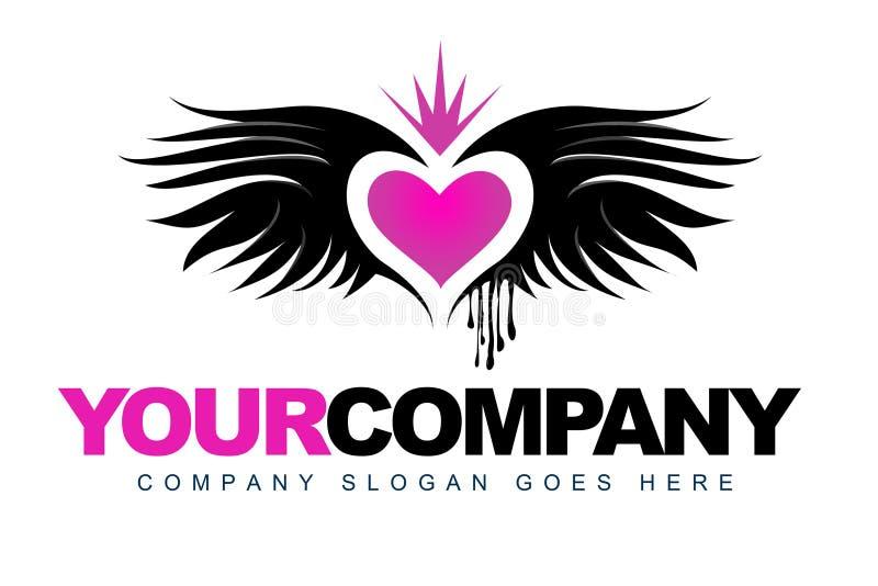 Logo d'amour d'ailes illustration stock