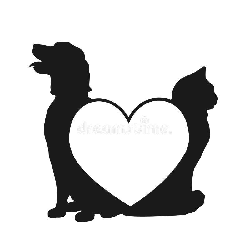 Logo d'amour de chat et de crabot illustration de vecteur