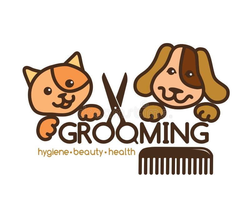 Logo d'animaux familiers de toilettage illustration de vecteur