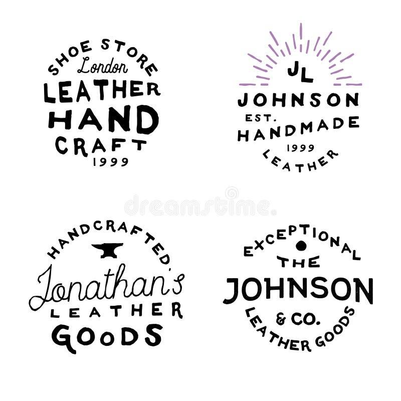 Logo d'annata del gruppo di lavoro della pelletteria, illustrazione di vettore illustrazione vettoriale
