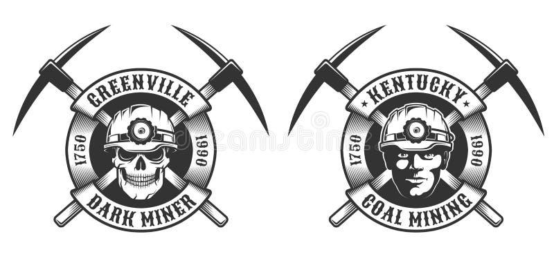 Logo d'annata del minatore delle miniere di carbone royalty illustrazione gratis
