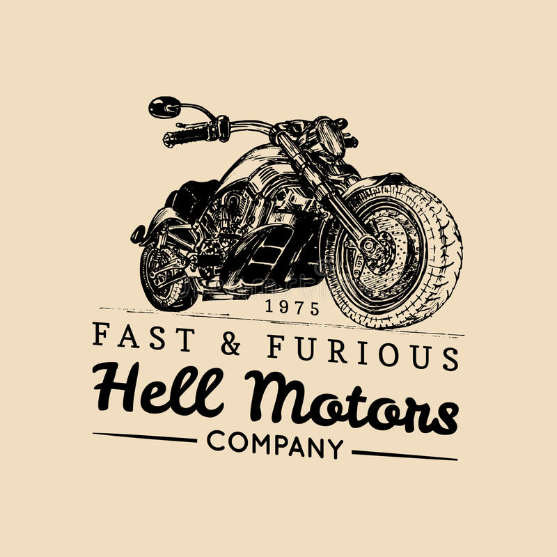 Logo d'annata del motociclo di vettore Icona del deposito del motociclista, segno di MC, manifesto su ordinazione del garage Illu illustrazione di stock