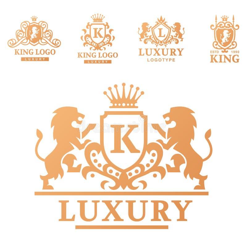 Logo d'annata dell'araldica del prodotto del boutique di alta qualità reale di lusso della cresta illustrazione vettoriale
