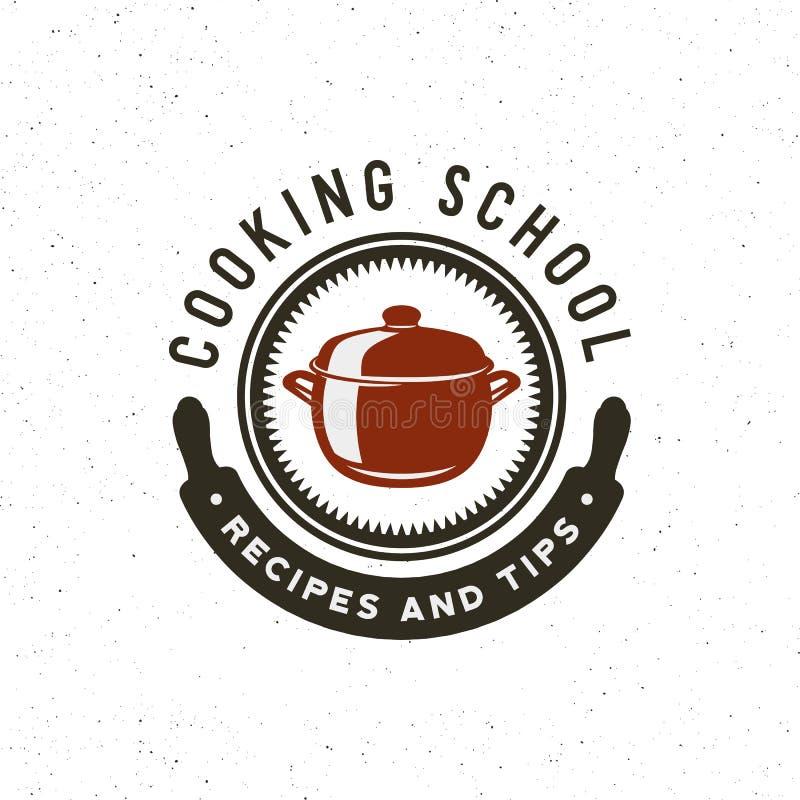 Logo d'annata delle classi di cottura retro emblema culinario disegnato della scuola Illustrazione di vettore illustrazione vettoriale