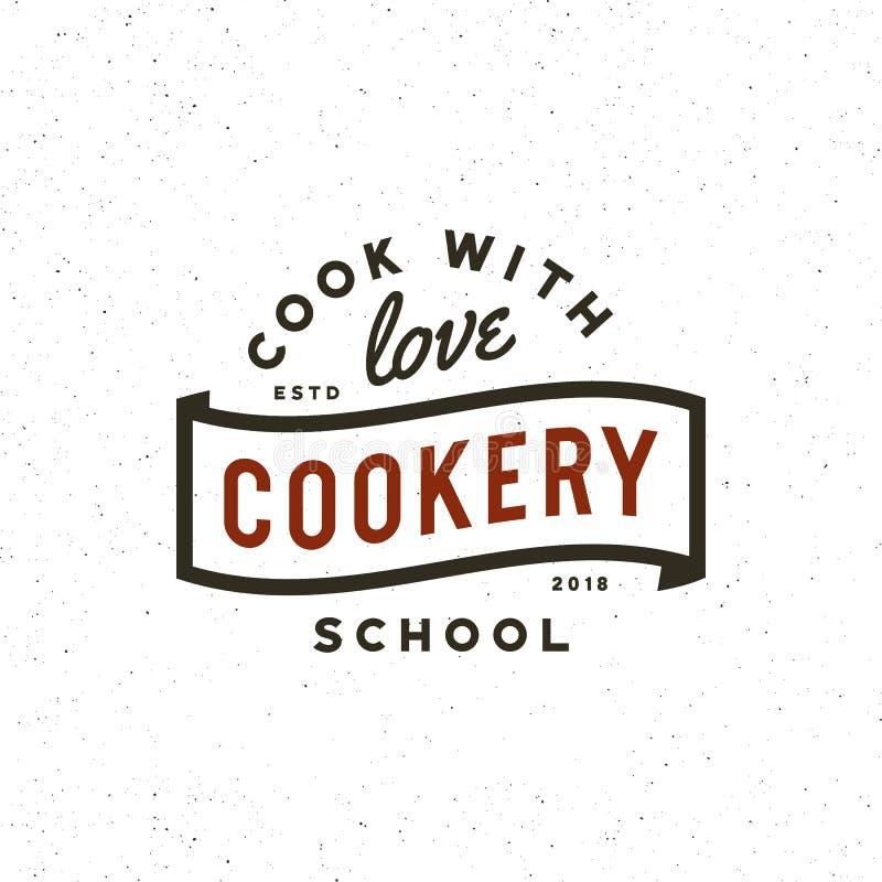 Logo d'annata delle classi di cottura retro emblema culinario disegnato della scuola Illustrazione di vettore illustrazione di stock