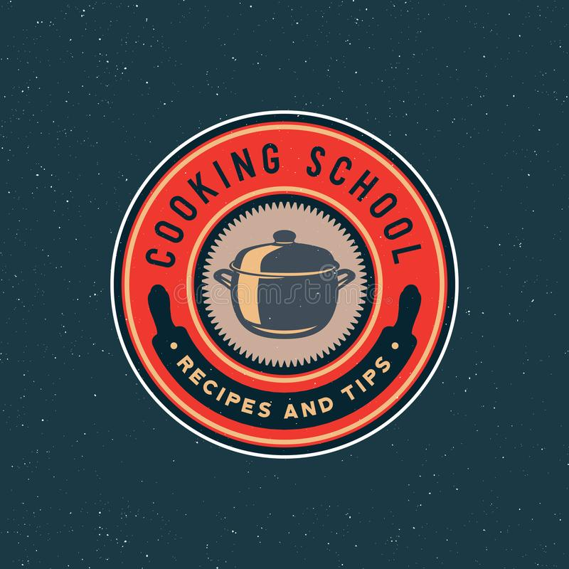 Logo d'annata delle classi di cottura retro emblema culinario disegnato della scuola Illustrazione di vettore royalty illustrazione gratis