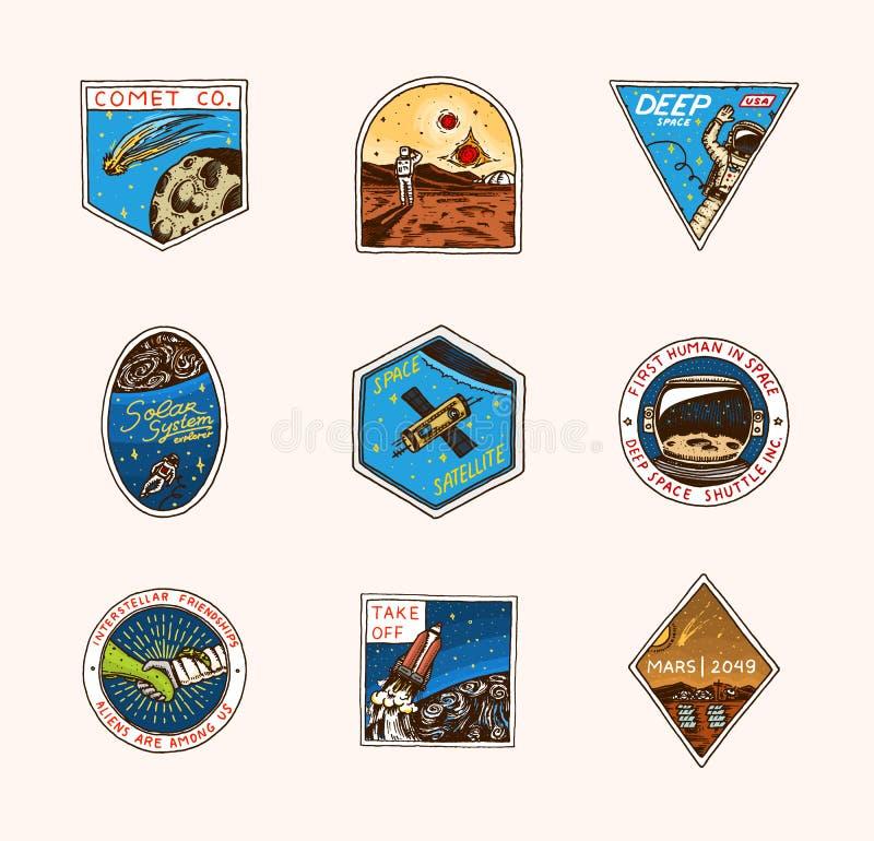 Logo d'annata dello spazio Esplorazione della galassia astronomica astronauta o astronauta di missione avventura del cosmonauta royalty illustrazione gratis