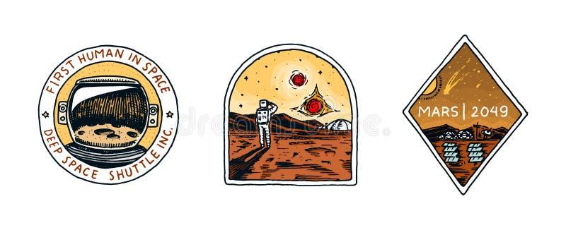 Logo d'annata dello spazio Esplorazione della galassia astronomica astronauta o astronauta di missione avventura del cosmonauta illustrazione di stock