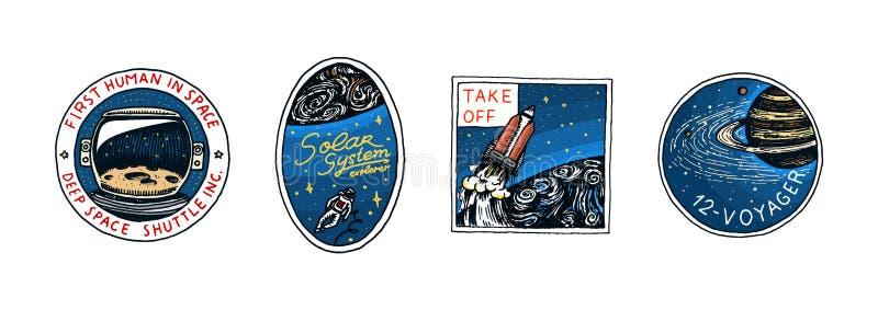 Logo d'annata dello spazio Esplorazione della galassia astronomica astronauta o astronauta di missione avventura del cosmonauta illustrazione vettoriale