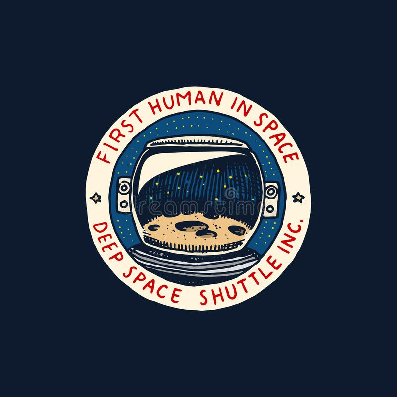 Logo d'annata dello spazio Esplorazione della galassia astronomica astronauta o astronauta di missione avventura del cosmonauta d illustrazione vettoriale