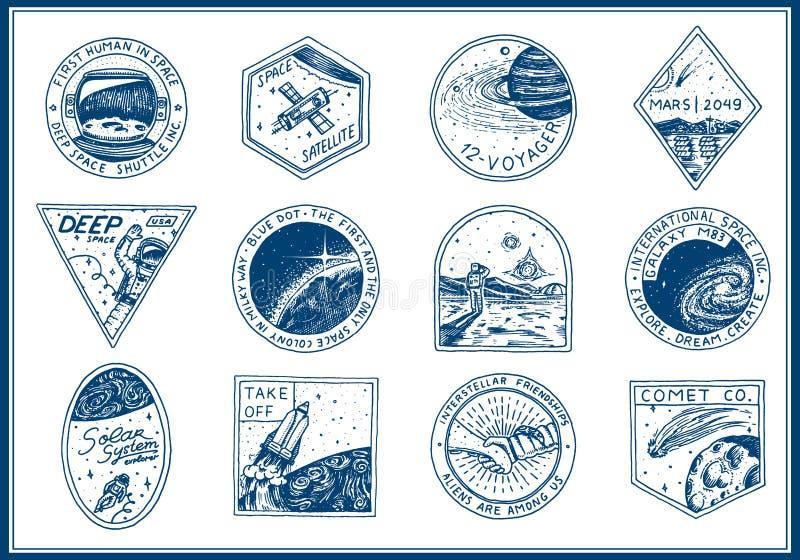 Logo d'annata dello spazio Esplorazione della galassia astronomica astronauta o astronauta di missione avventura del cosmonauta p illustrazione vettoriale