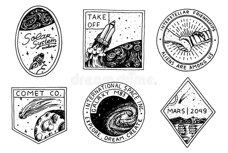 Logo d'annata dello spazio Esplorazione della galassia astronomica astronauta o astronauta di missione avventura del cosmonauta p royalty illustrazione gratis