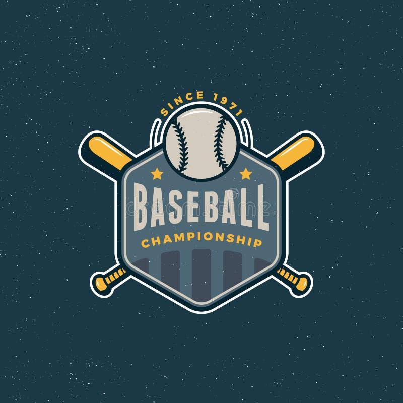 Logo d'annata di baseball retro emblema disegnato di sport Illustrazione di vettore royalty illustrazione gratis
