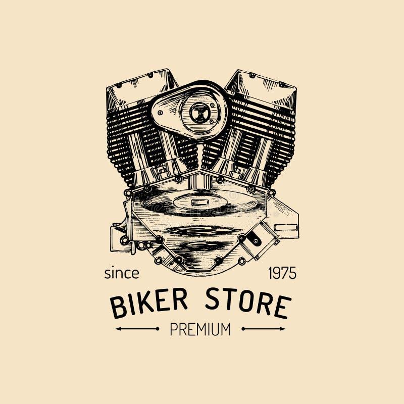 Logo d'annata di riparazione del motociclo di vettore con il motore Etichetta del garage schizzata retro mano Emblema su ordinazi royalty illustrazione gratis